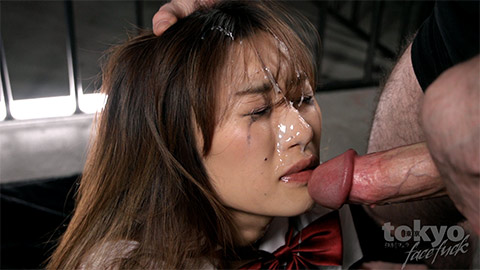 Miura Akina gets facial cumshot after face fuck by gaijin cock